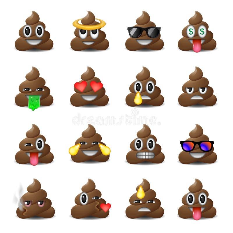 Insieme delle icone della merda, fronti sorridenti, emoji, emoticon