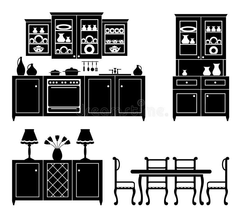 Insieme delle icone della mobilia della cucina illustrazione di stock