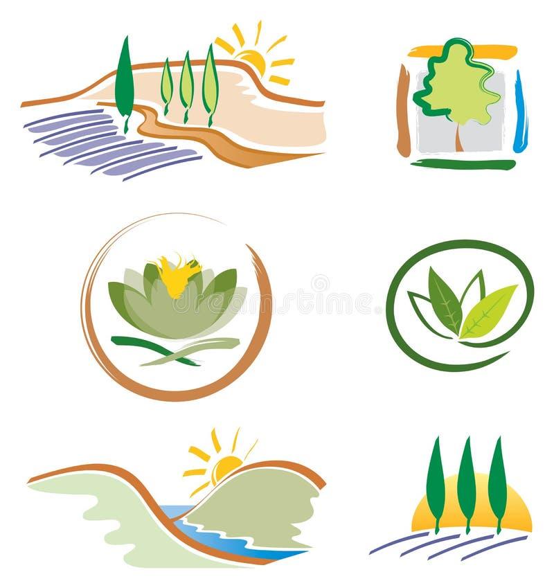Insieme delle icone della natura per il disegno di marchio illustrazione di stock