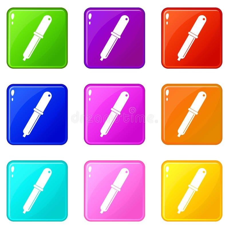 Insieme delle icone 9 della pipetta della raccoglitrice di colore illustrazione di stock