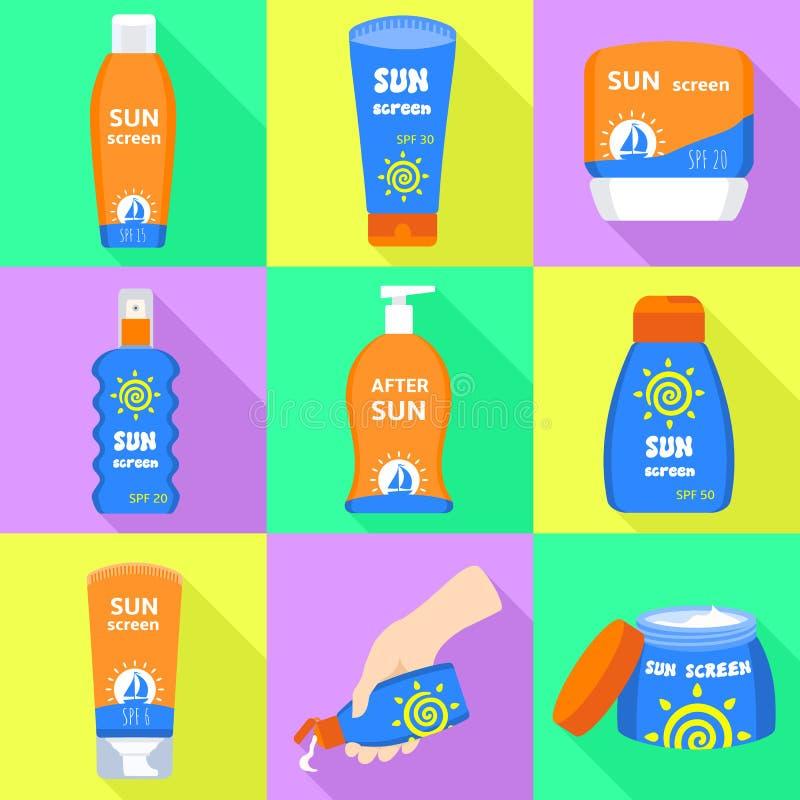 Insieme delle icone della protezione solare, stile piano illustrazione vettoriale