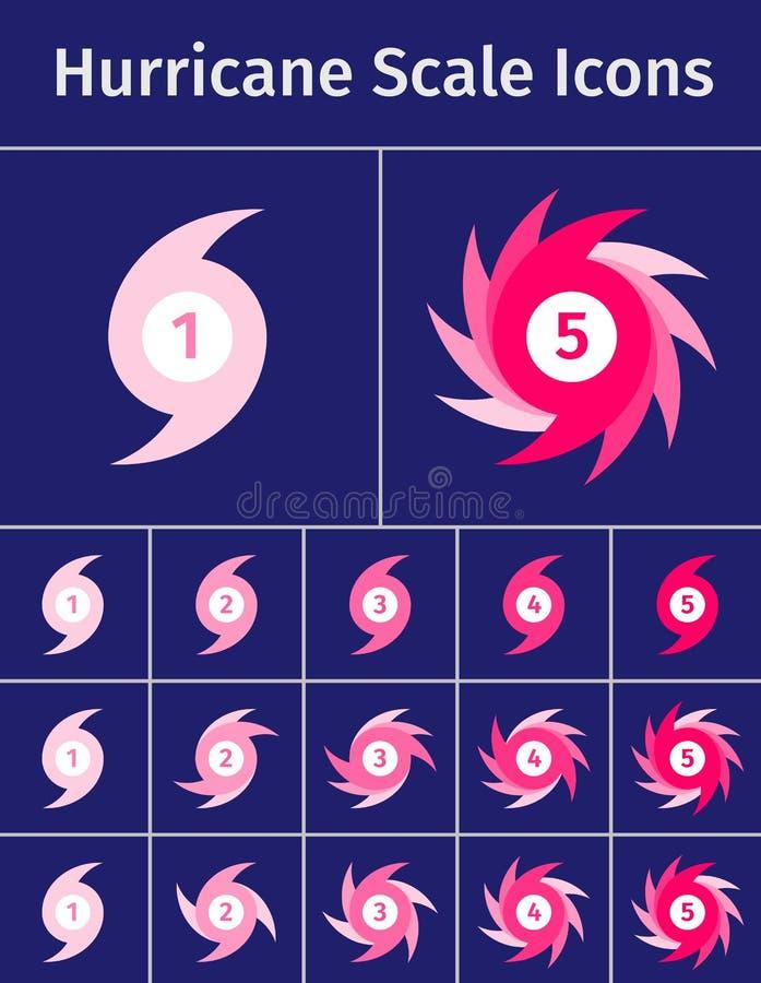 Insieme delle icone della scala di uragano illustrazione di stock