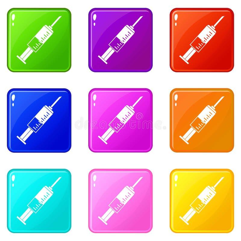 Insieme delle icone 9 della siringa illustrazione di stock