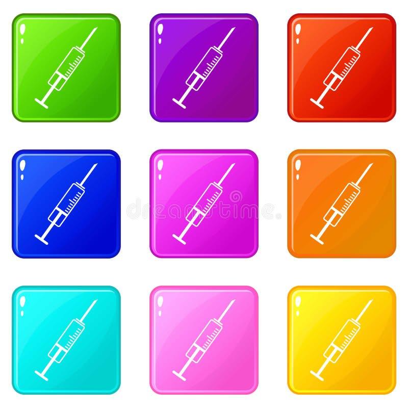 Insieme delle icone 9 della siringa royalty illustrazione gratis