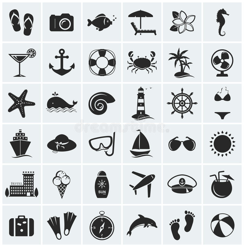 Insieme delle icone della spiaggia e del mare. Illustrazione di vettore. illustrazione vettoriale
