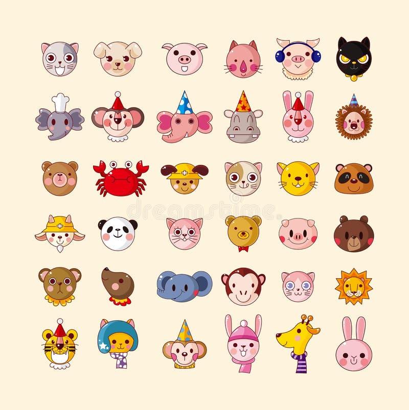Insieme delle icone della testa dell'animale royalty illustrazione gratis