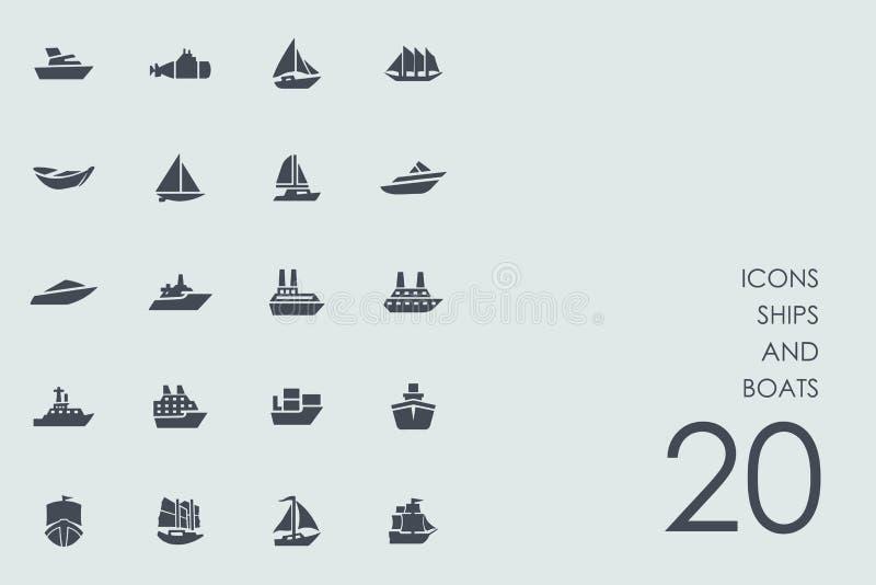 Insieme delle icone delle barche e delle navi illustrazione di stock