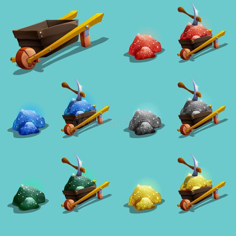 Insieme delle icone delle risorse per i giochi Minerale metallifero verde, blu, rosso, dell'oro e dell'argento illustrazione vettoriale