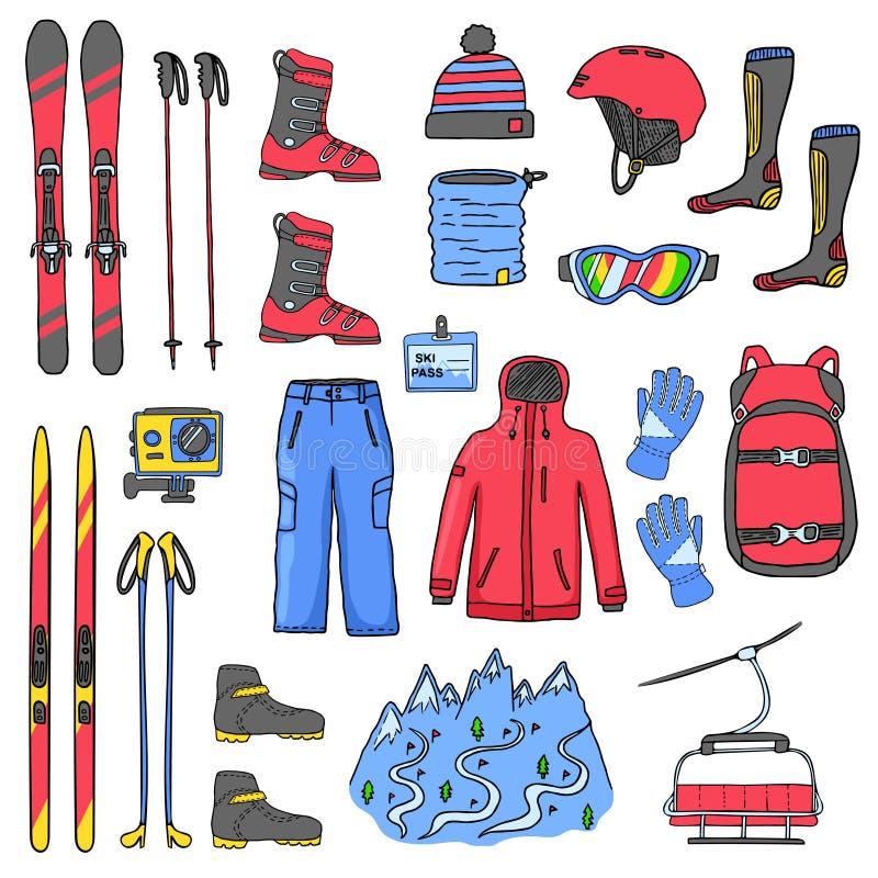 Insieme delle icone dello sci di sport royalty illustrazione gratis