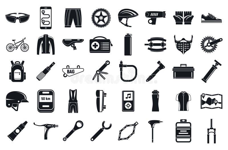 Insieme delle icone dello strumento del mountain bike, stile semplice illustrazione vettoriale