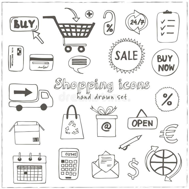 Insieme delle icone di acquisto di schizzo di scarabocchio royalty illustrazione gratis