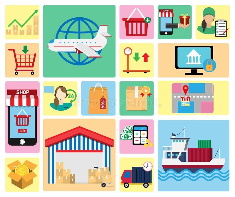 Insieme delle icone di acquisto Può essere usato per il modello della disposizione di flusso di lavoro, l'insegna, la vendita, l' illustrazione di stock