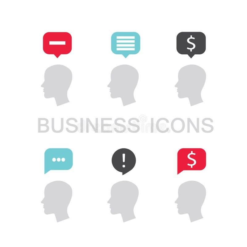 Insieme delle icone di affari con il profilo ed il fumetto della testa dell'uomo d'affari royalty illustrazione gratis