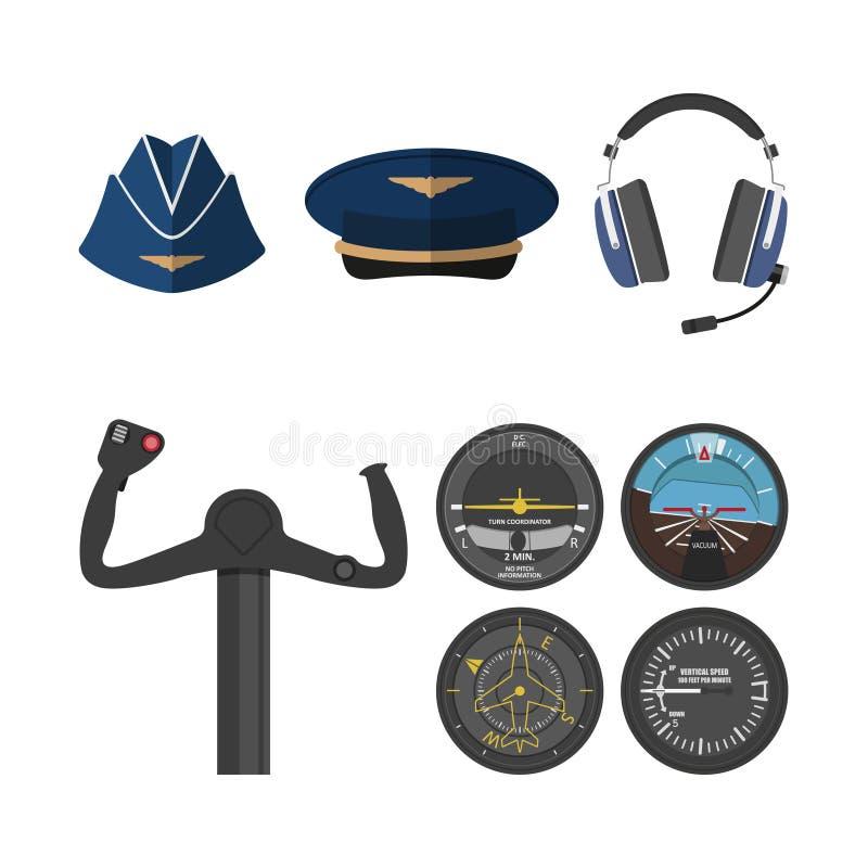 Insieme delle icone di aviazione in uno stile piano Piloti degli oggetti illustrazione vettoriale