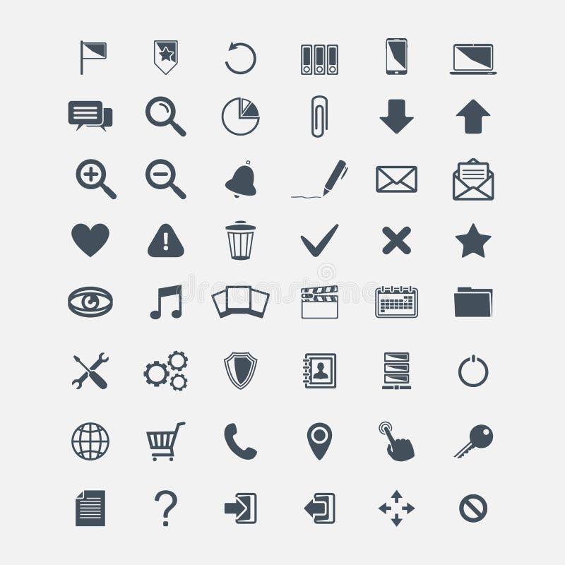 Insieme delle icone di base di web di vettore grande illustrazione di stock