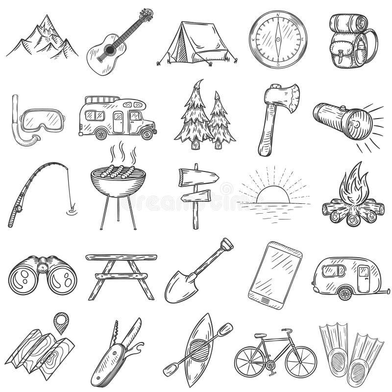 Insieme delle icone di campeggio disegnate a mano royalty illustrazione gratis