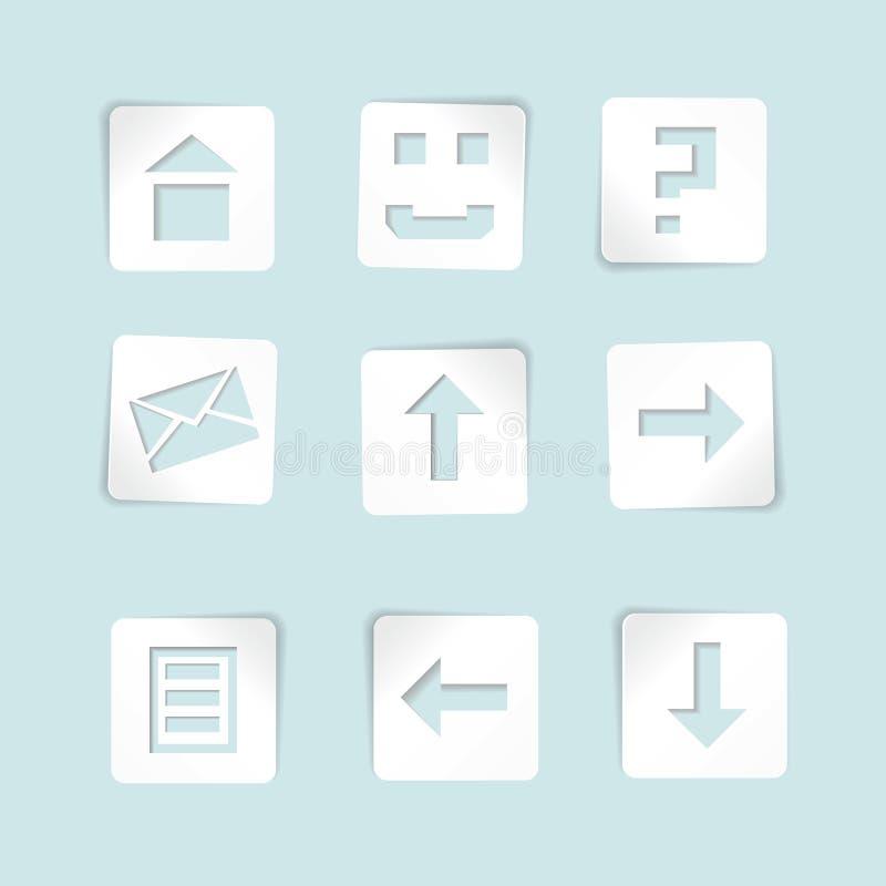 Insieme delle icone di carta su priorità bassa blu royalty illustrazione gratis