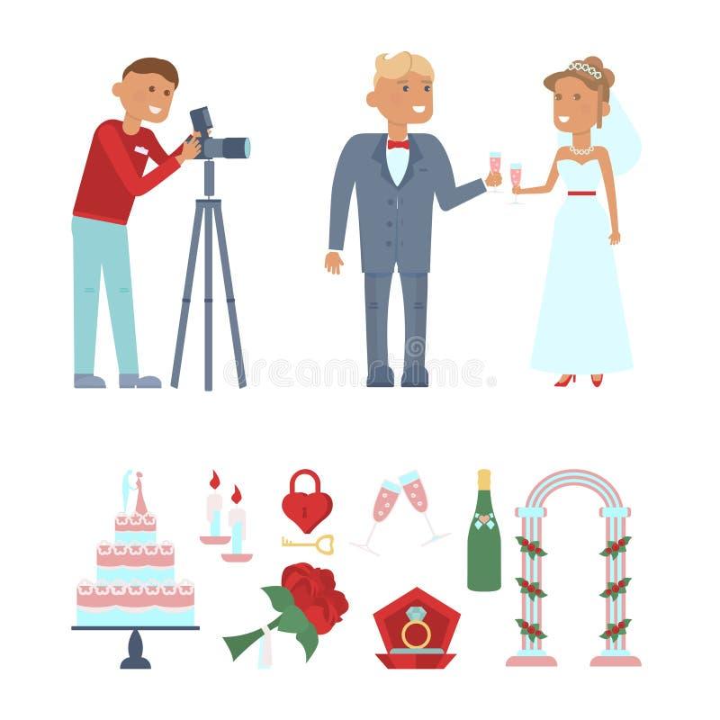 Insieme delle icone di cerimonia nuziale illustrazione vettoriale