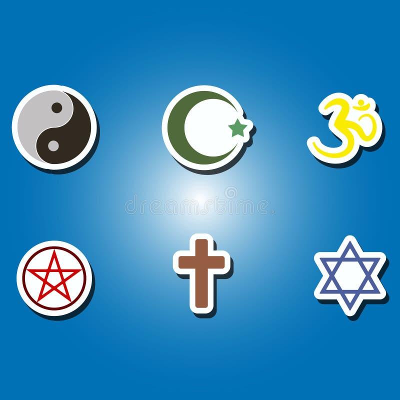 Insieme delle icone di colore con i simboli religiosi illustrazione vettoriale