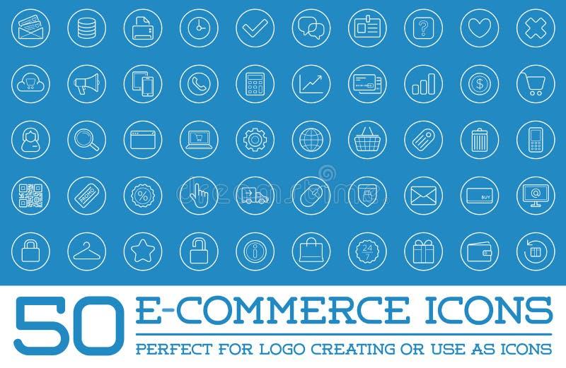 Insieme delle icone di commercio elettronico di vettore royalty illustrazione gratis