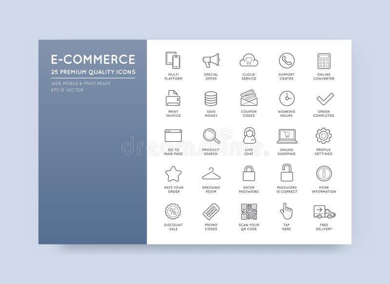 Insieme delle icone di commercio elettronico di vettore illustrazione vettoriale