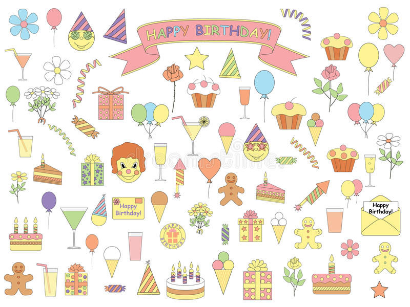 Insieme delle icone di compleanno royalty illustrazione gratis