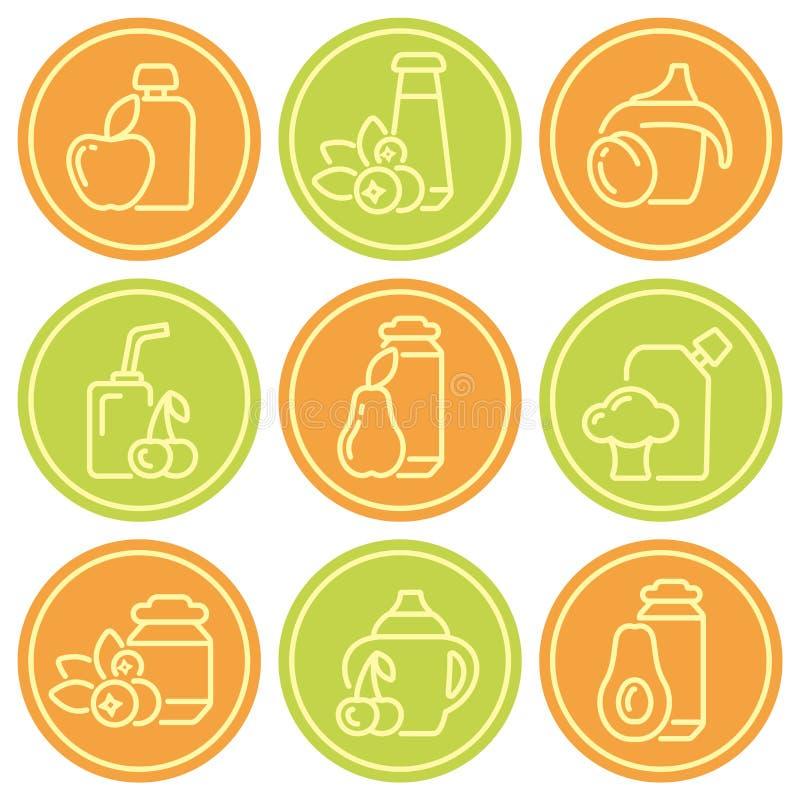 Insieme delle icone di contorno degli alimenti per bambini illustrazione vettoriale