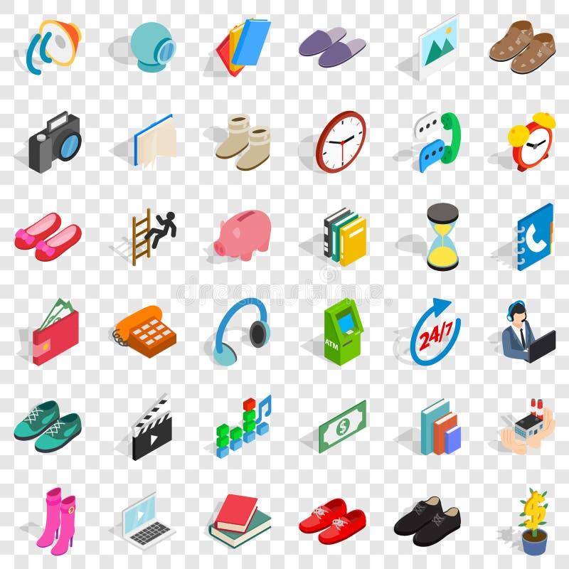 Insieme delle icone di contributo, stile isometrico illustrazione vettoriale