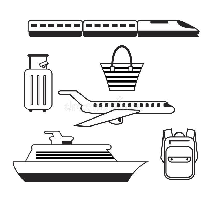 Insieme delle icone di corsa Cellulare app, stampa, icona del sito Web Elementi semplici L'aeroplano, il treno, la nave ed i baga illustrazione vettoriale
