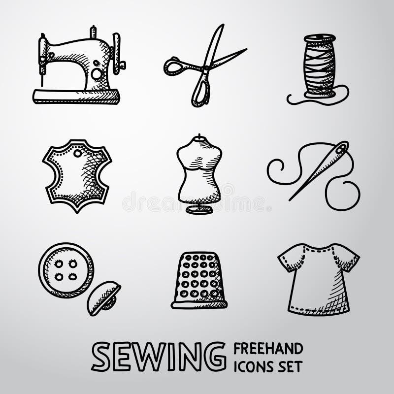 Insieme delle icone di cucito disegnate a mano - macchina, forbici illustrazione vettoriale