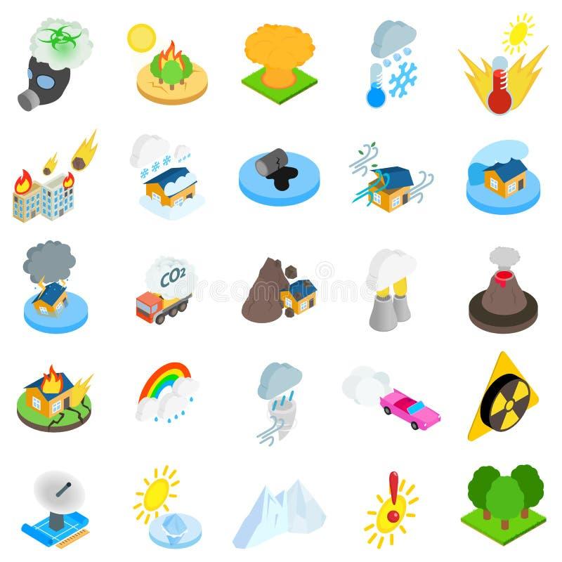 Insieme delle icone di disastro naturale, stile isometrico royalty illustrazione gratis