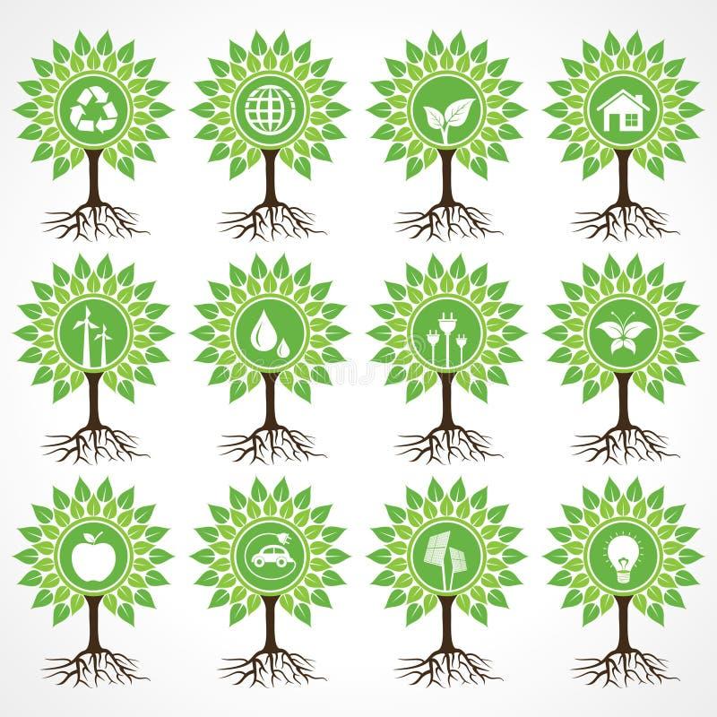 Insieme delle icone di eco sull'albero royalty illustrazione gratis