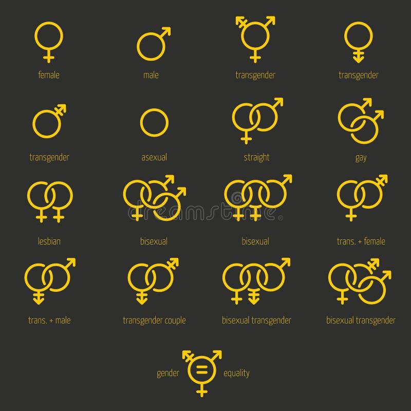 Insieme delle icone di genere e dell'uguaglianza sessuale fotografia stock libera da diritti