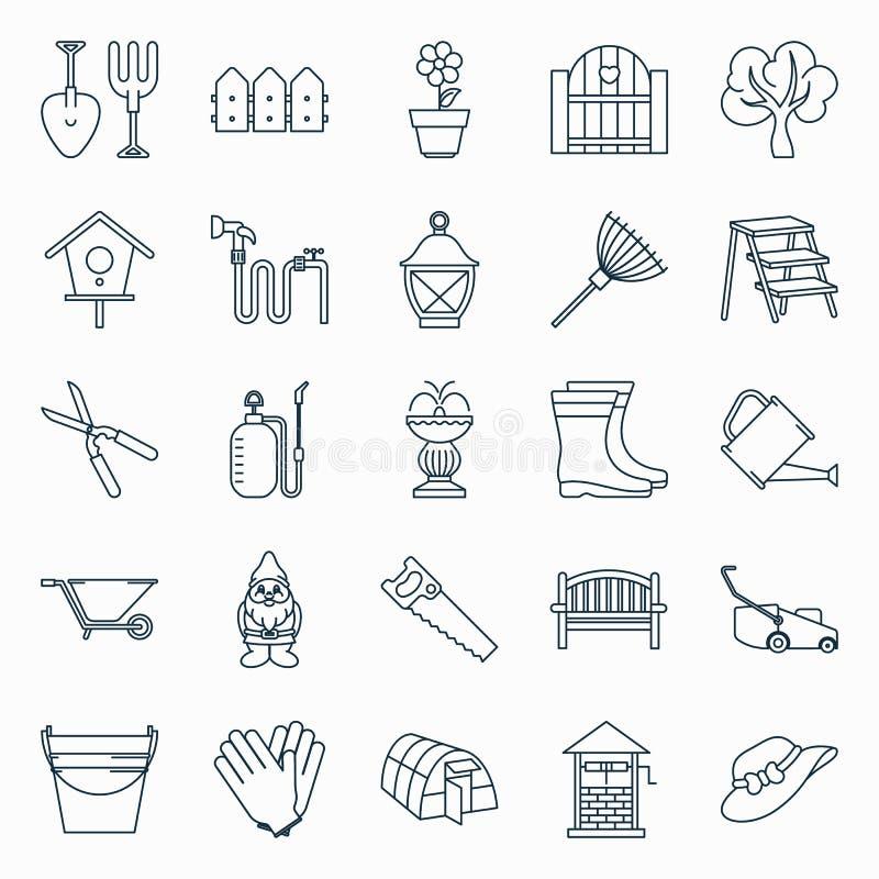 Insieme delle icone di giardinaggio royalty illustrazione gratis
