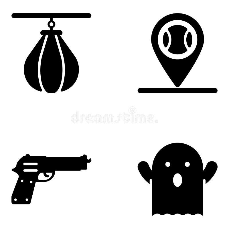 Insieme delle icone di glifo del gioco illustrazione vettoriale