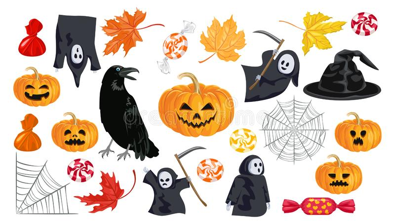Insieme delle icone di Halloween Raccolta delle illustrazioni luminose di vettore nello stile piano del fumetto royalty illustrazione gratis