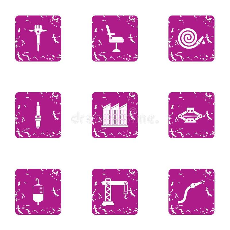 Insieme delle icone di incidente, stile di lerciume illustrazione vettoriale
