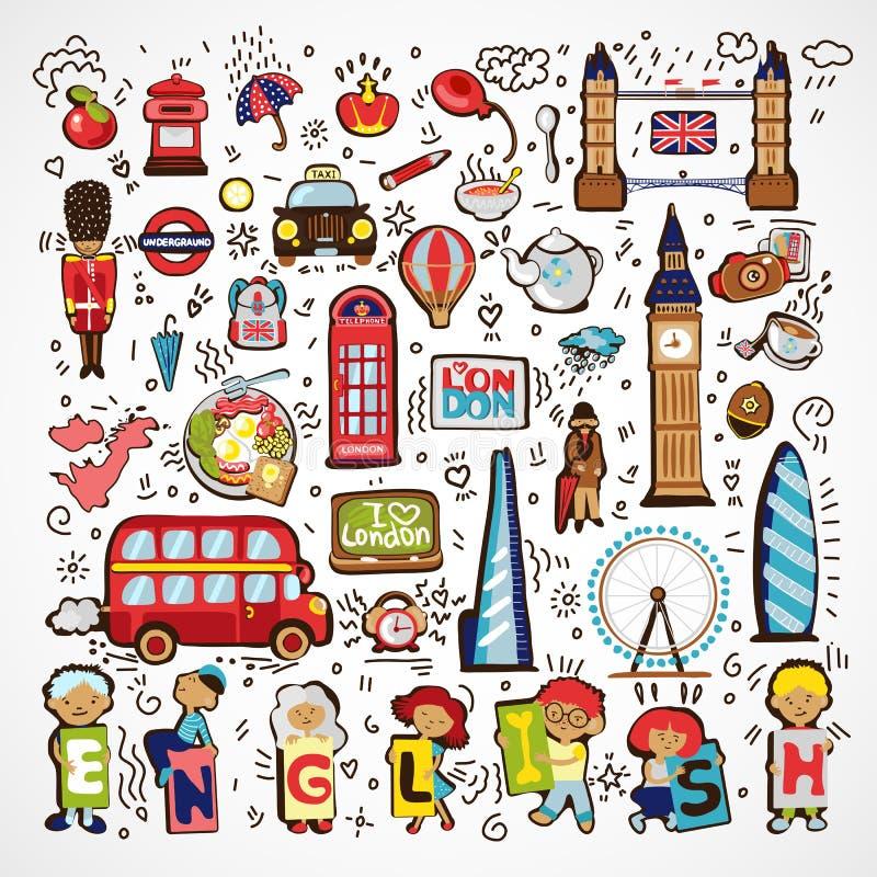 Insieme delle icone di Londra di vettore Icona disegnata a mano di scarabocchio dell'Inghilterra Monumenti architettonici famosi, illustrazione vettoriale