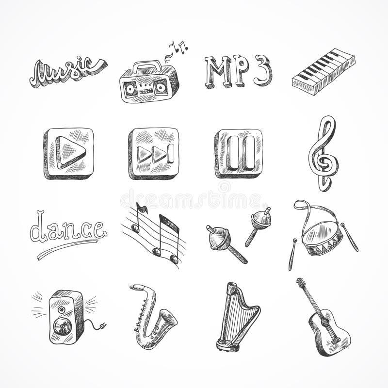 Insieme delle icone di musica illustrazione vettoriale