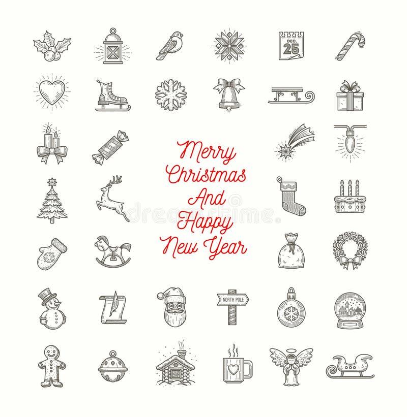 Insieme delle icone di Natale illustrazione di stock