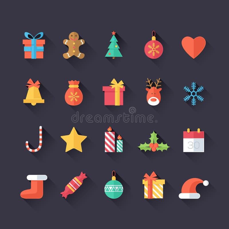 Insieme delle icone di Natale isolate Stile piano con le ombre lunghe Progettazione d'avanguardia moderna royalty illustrazione gratis