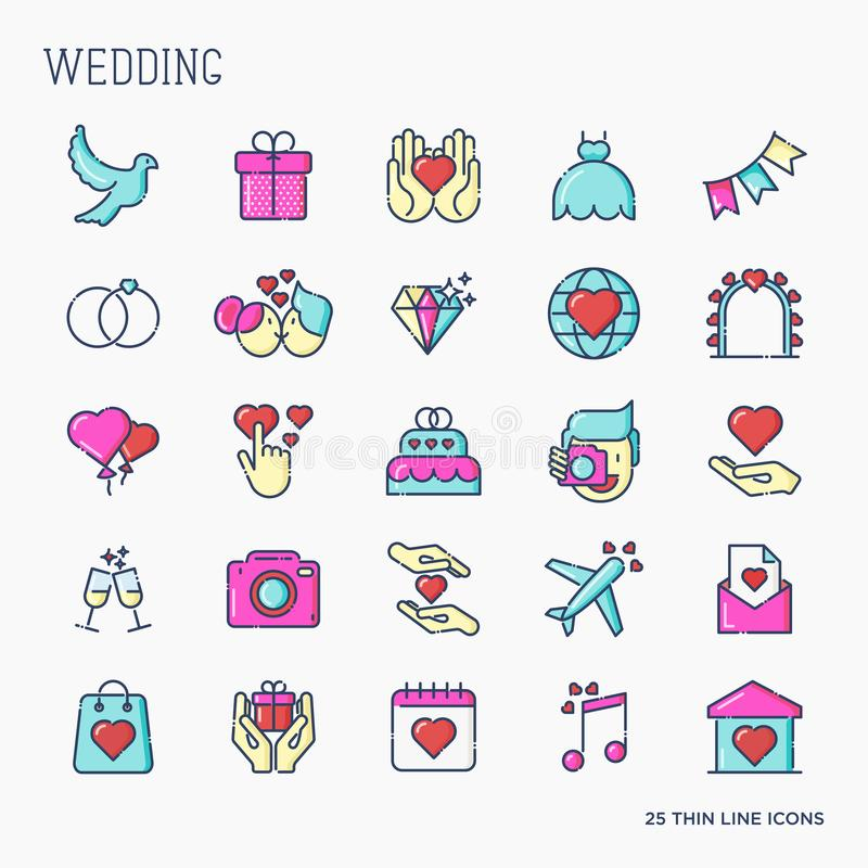 Insieme delle icone di nozze nella linea stile per l'invito illustrazione vettoriale