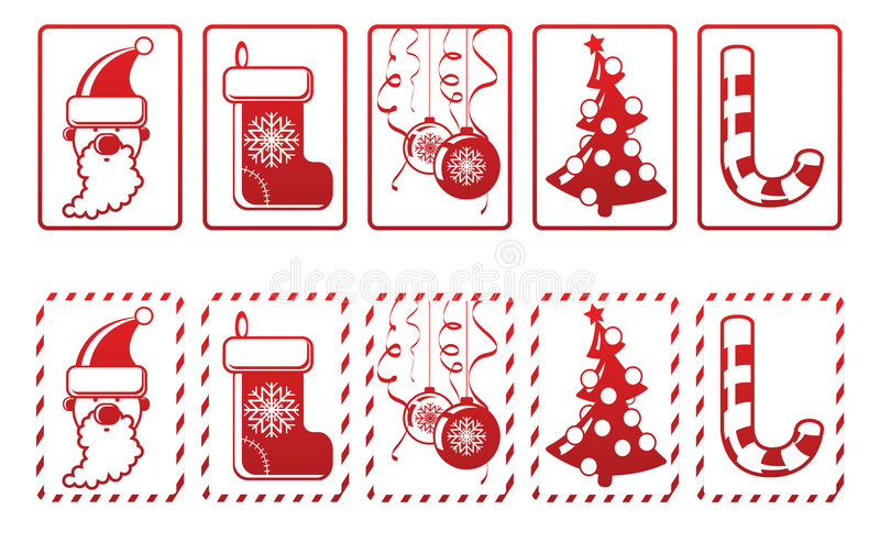 Insieme delle icone di nuovo anno di vettore illustrazione vettoriale