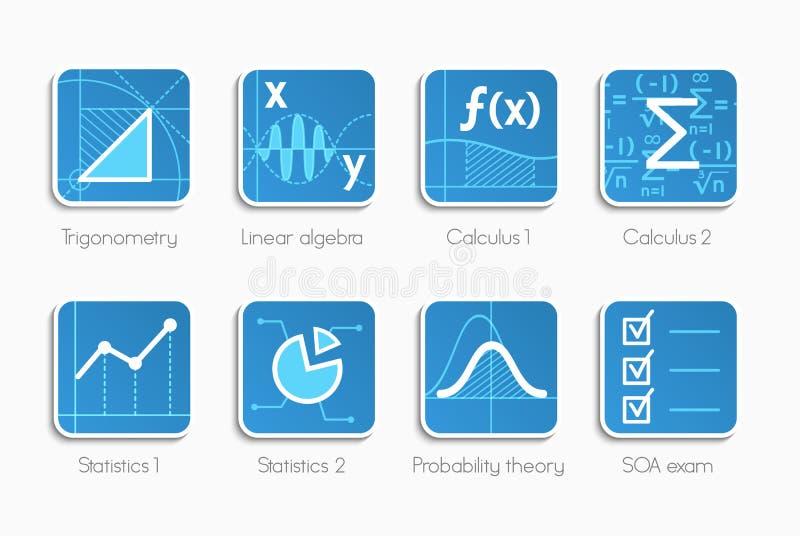 Insieme delle icone di per la matematica illustrazione di stock