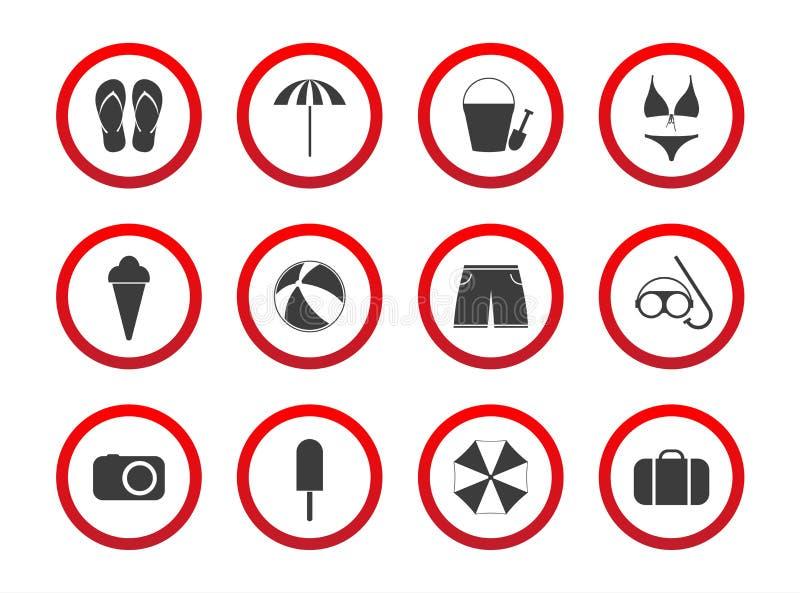 Insieme delle icone di proibizione di viaggio, segni di restrizione della spiaggia, icona s illustrazione vettoriale