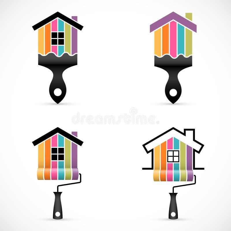 Insieme delle icone di rinnovamento della casa La pittura assiste le icone royalty illustrazione gratis