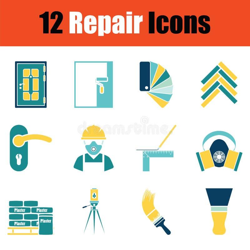 Insieme delle icone di riparazione illustrazione vettoriale