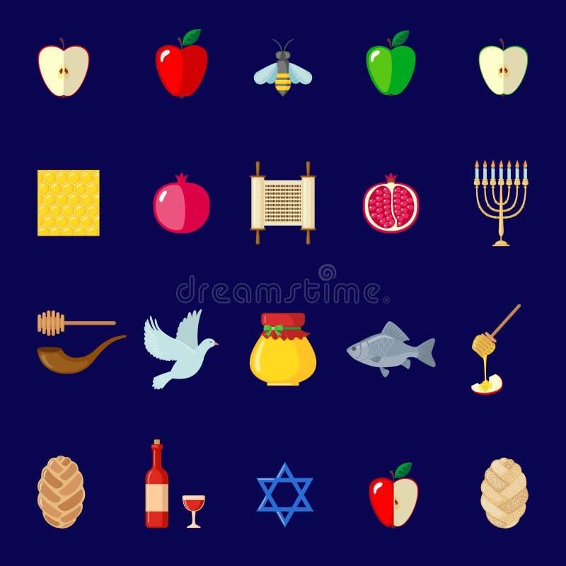 Insieme delle icone di Rosh Hashanah nello stile piano illustrazione di stock