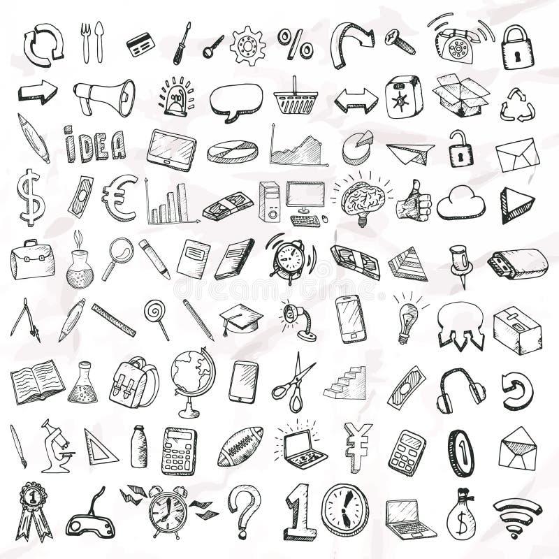 Insieme delle icone di scarabocchio royalty illustrazione gratis