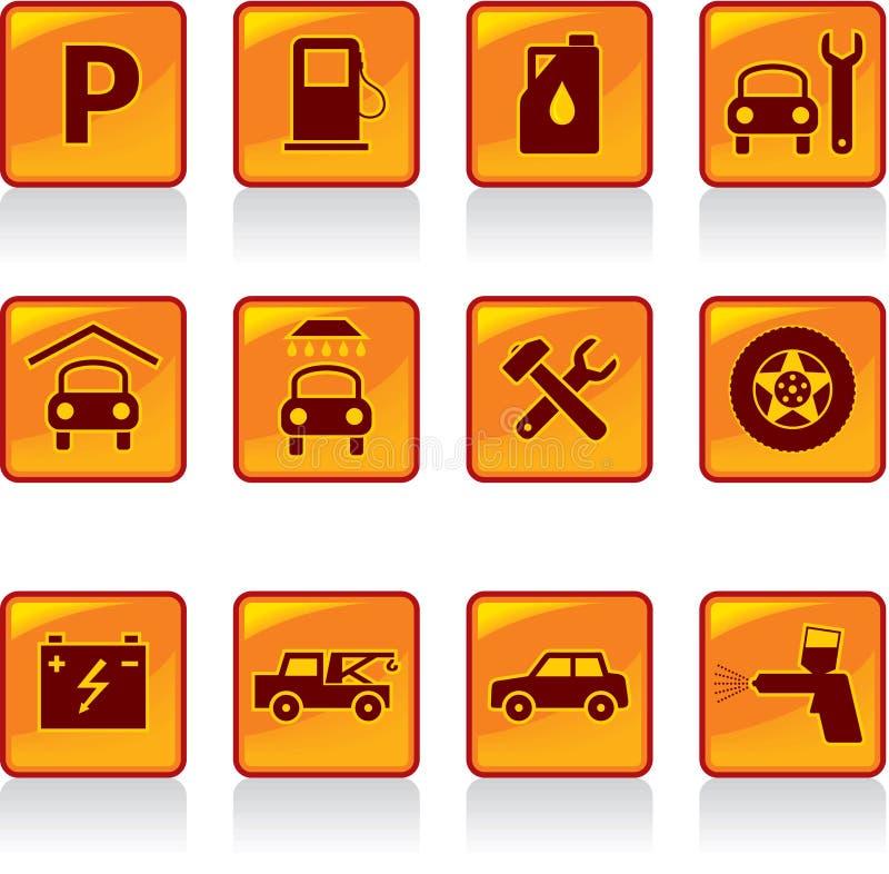 Insieme delle icone di Servise dell'automobile illustrazione vettoriale
